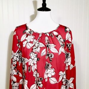 Liz Claiborne Red, Black & White Floral Top, XL
